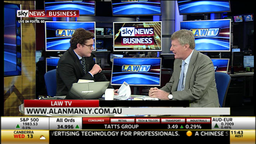 Carson Scott interviewing Alan Manly on Sky News
